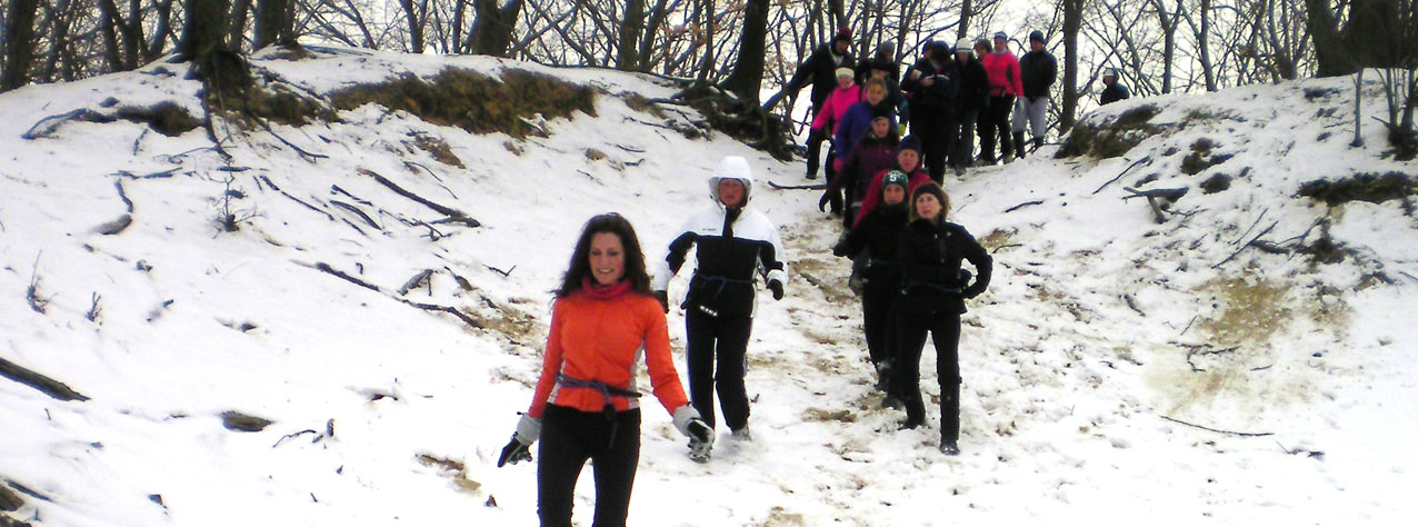 Cari Draft leads an EcoTrek session during the winter months